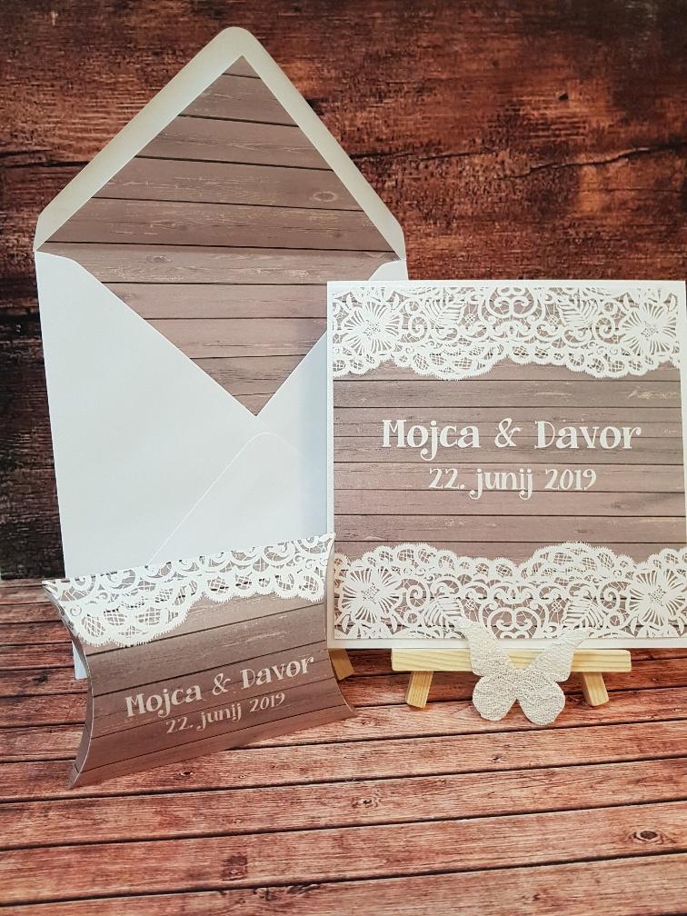 poročna vabila s čipko - Poročni bazar INKI